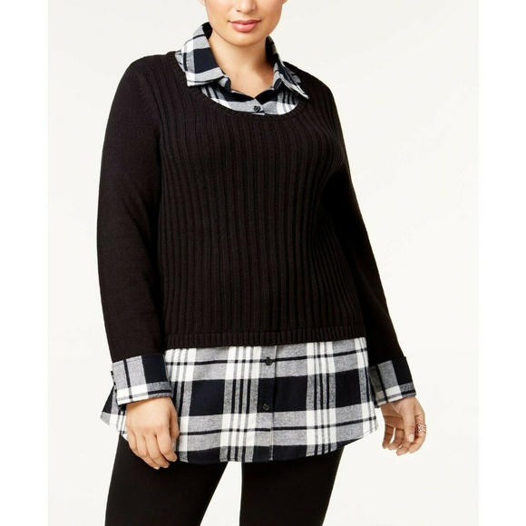 Style & Co Sweaters - Style&Co B+W Plaid Ribbed Layered-Look Sweater